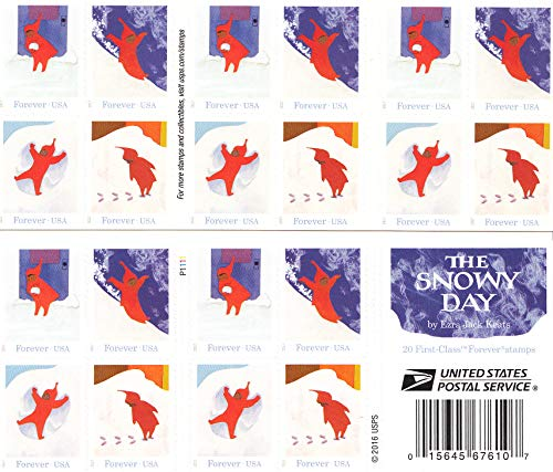 The Snowy Day - USPS Forever Stamps Book of 20 - New 2017 Release