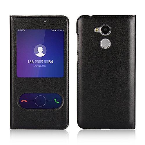 Copmob Huawei Honor 6A Hülle in SCHWARZ Handyhülle mit Sichtfenster (View), Standfunktion & Verschluss Hülle Cover Schutzhülle Etui Tasche Book Klapp Style