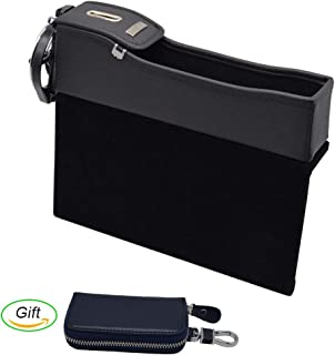 Car Seat Organizer, Car Seat Side Gap Filler, Multi-fuctional Car Seat Leather Storage Box with Coin Money Beverage and Cup Holder & a Gift of Car Key Case (Passenger Side, Black)