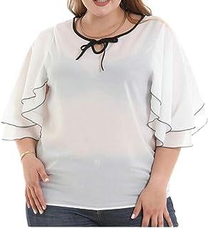 FRPE Women's Plus Size Ruffle Casual Loose Chiffon Blouse T-Shirt Top