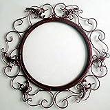 XIUXIU Espejo Inicio Retro Color sólido Redondo Hierro Forjado Espejo Decorativo Baño Montado en...