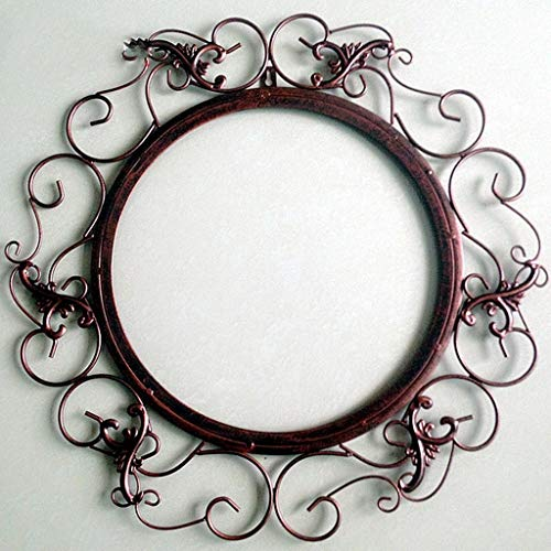 XIUXIU Espejo Inicio Retro Color sólido Redondo Hierro Forjado Espejo Decorativo Baño Montado en la Pared Espejo de vanidad (Color : Brown)