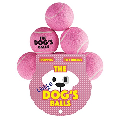 The Little Dog's Balls, Dog Tennis Balls, 6-Pack Pink Dog Toy, Premium Strong Dog & Puppy Ball for Training, Play, Exercise and Fetch