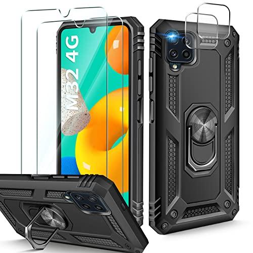 AROYI Kompatibel mit Samsung Galaxy M32 Hülle (Nicht für M32 5G) mit 2 Stück Panzerglas & 2 Stück Kamera Panzerglas, Ring Ständer Halterung Handyhülle - Schwarz