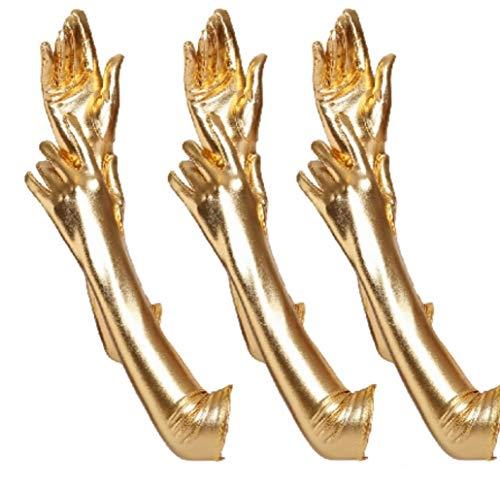 krautwear® Damen Finger Handschuhe Glitzer Metallic ca. 44 cm Lang Gold Silber (3x BL9127-gold)