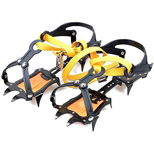 KINDOYO Glace Traction - Escalade sur Neige Montagne Anti-dérapant Ajustement Gratuit de Glace et Neige Ice Grips,Noir Jaune(10 Dents),Taille Unique(225-290cm Convient Chaussures)