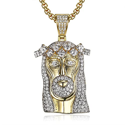 FIOXOO El Nuevo Cadena de Jesús, Tono de Oro Gran Coronado Jesús Colgante con Collar de Cadena Cubana para Hombres
