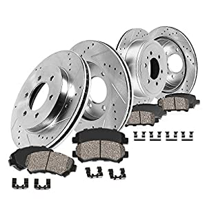 Callahan CDS02409 FRONT 350mm + REAR 348mm D/S 6 Lug [4] Rotors + Ceramic Brake Pads + Clips [ fit 2012-2017 Ford F150 ]