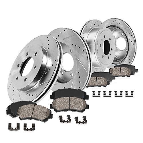 Callahan CDS02409 FRONT 350mm + REAR 348mm D/S 6 Lug [4] Rotors + Ceramic Brake Pads + Clips [ fits 2012 2013 2014 2015 2016 2017 Ford F150 | Raptor 4WD | SSV ]