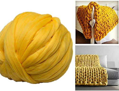 Arm Knitting Yarn Chunky Wool Yarn Bulky Wool Yarn Giant Knit Yarn Extreme Knitting (0.55lbs/250g, Yellow)
