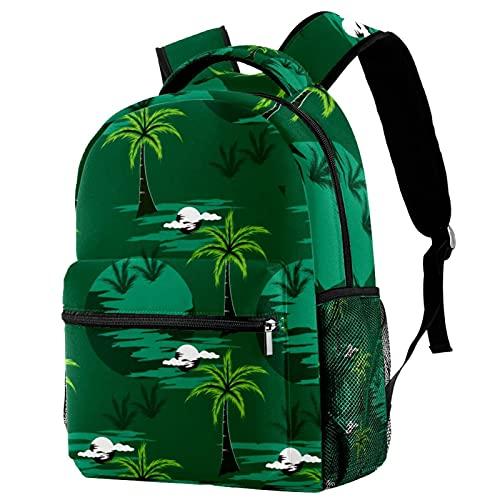 Liangbaiwan Mochila para adolescentes niñas niños mochila ligera mochila de viaje mochila Cocón de la isla tropical de las palmeras Impresión de sacos