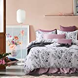 French Country Garden Toile Floral Printed Duvet Quilt Cover Cotton Bedding Set Asian Style Tapestry Pattern Chinoiserie Peony Blossom Tree Branches Multicolored Design (Queen, White Black)