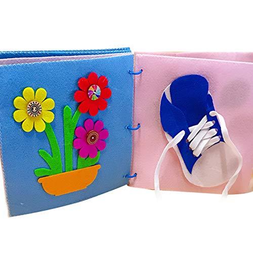 Babybuch Stoffbuch Entdeckungsbuch Baby Spielzeug Früh Lernen Lernspielzeug Quiet Book Kinderbild-Handbuch Buch für die frühe kognitive Entwicklung Kinder Spielzeugtuch Bücher