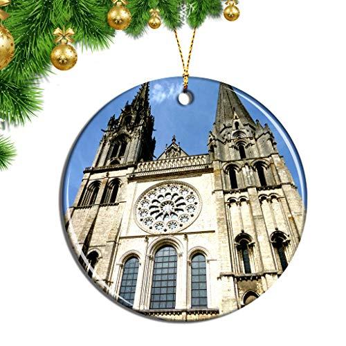Hqiyaols Ornament Frankreich Chartres Kathedrale Weihnachten Ornamente Hängende Verzierung Keramik Souvenir Stadt Reise Geschenk Baum Tür Fenster Decke Zierschmuck Deko