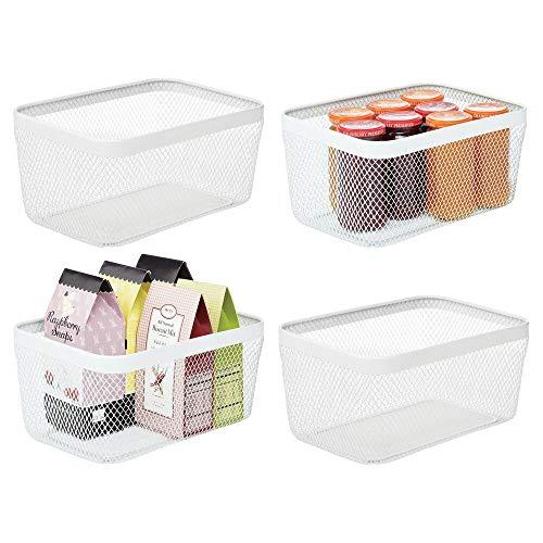 mDesign 4er-Set Allzweckkorb – Aufbewahrungskorb aus Metall für Küche, Vorratskammer, Bad etc. – kompakter und universeller Drahtkorb – weiß