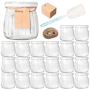 Comrzor 20 Pack 7 oz Yogurt Jars with PE Lids Glass Pudding Jars Yogurt Jars Ideal for Jam Honey Baby Foods Wedding Favors Shower Favors Strings Tags & Sponge Brush Included