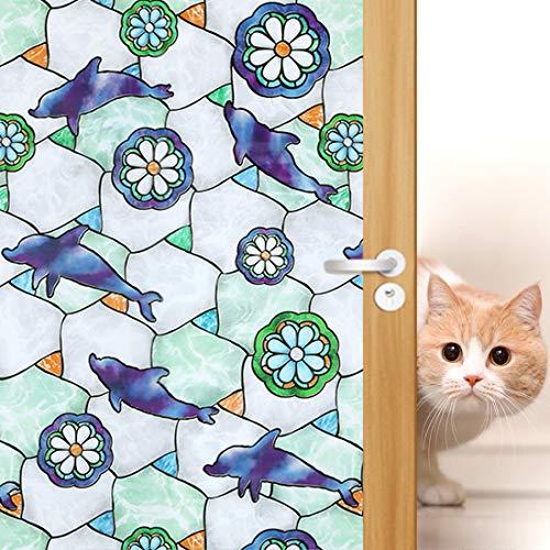 Delphin Dekorative Fensterfolie Sichtschutz Glastür Cling Tönung, kein Kleber Buntglas Fensterdekoration für Privatsphäre/Hitzeregelung/Anti-UV, 90,2 x 199,9 cm