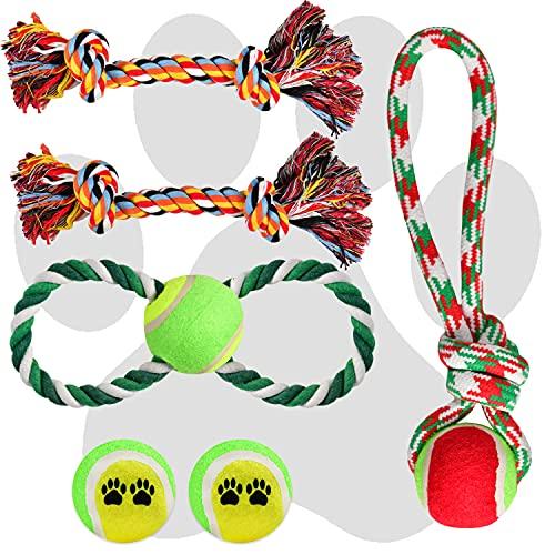 XXL Hundespielzeug Set | 6 TLG. Hunde-Spielzeug inkl. Seil-Spielzeug Kauknochen Tennisbälle | Hunde-Spielsachen unzerstörbar für kleine, große Hunde & Welpen für Hunde-Spiele Draußen & im Garten