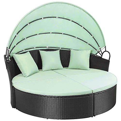 Homall Outdoor Patio Round Daybed with Retractable Canopy Wicker Furniture Sectional Seating with Washable Cushions for Patio Backyard Porch Pool Daybed Separated Seating (Green)