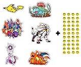 6 Skateboard Vinyl Stickers, YOU PICK, Laptop Ipad Luggage Helmet Bike Car+ 43 FREE Smiley Stickers - Pikachu, Pokemon Go