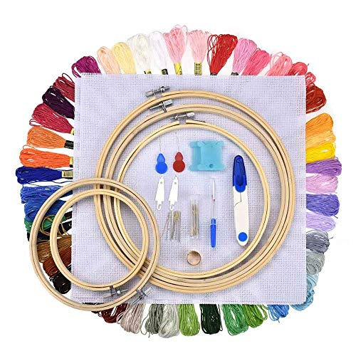 HANDYCRF 5pcs Bamboo Cross Stitch Embroidery Hoops + 50 Colors Threads Scissors Needles Sewing Accessories
