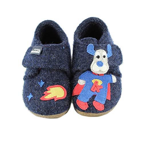 Living Kitzbühel Baby-Jungen Babyklett Superman Hausschuhe, Blau (Nachtblau 590), 19 EU