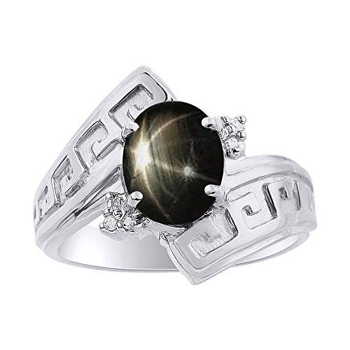 Juego de anillos de zafiro de estrella negra y diamante en oro blanco de 14 quilates, diseño de llave griega, piedra de color y piedra de nacimiento