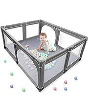 Yobest Siatka dla niemowląt, kojec XXL, centrum aktywności dla dzieci, do użytku wewnątrz i na zewnątrz, z antypoślizgową podstawą, stabilna kratka ochronna dla dzieci (190 x 150 x 70 cm)