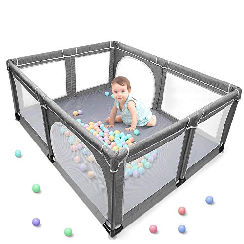 Baby Playpen, Extra Large Playard, Indoor & Outdoor Kids Activity Center with Anti-Slip Base, Sturdy Safety Play Yard with Super Soft Breathable Mesh, Kid's Fence for Infants Toddlers (Grey)