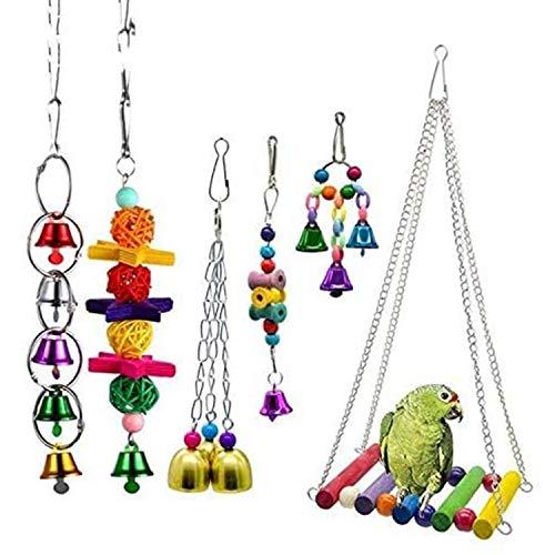 Juguete para Loros De 6 Piezas, Juguete para Masticar Pájaros para Mascotas, Columpio Colgante para Nido De Loros con Gancho De Metal, Adecuado para Pájaros Loros Medianos Y Pequeños