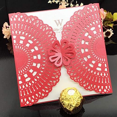 EVEYYQJ Neue Geschäftseinladung, Festliche Einladungskarte, Geburtstagskarte, Hohle kreative Hochzeit, Hochzeitseinladung, roter Schatz