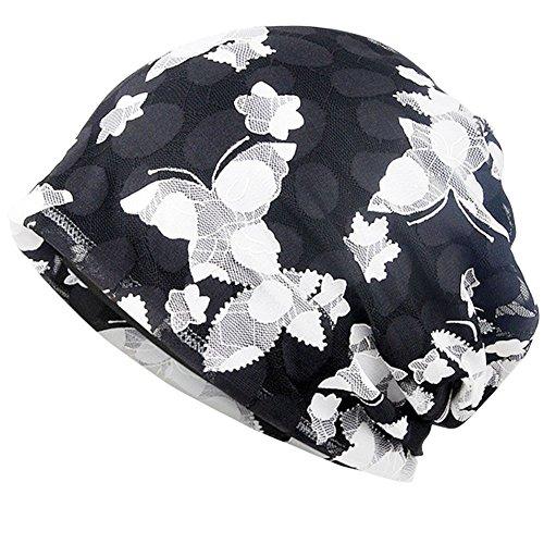 Skullies Beanies Thin Bonnet Cap Slouchy Chemo Beanie Night Caps for Women Black/White