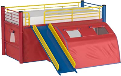 Oates Lofted Bed with Slide and Tent Multi-color