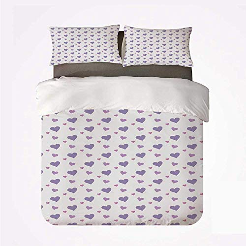 Zozun Duvet Cover Set Kids Practical 3 Bedding Set,Girls Room Nursery Decor Candy Like Full of Love Icon Hearts Rain Image for Dormify