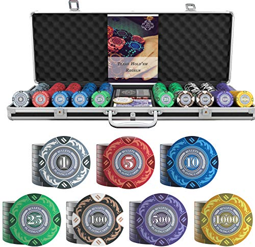 Bullets Playing Cards - Großer Pokerkoffer Tony Deluxe Pokerset mit 500 Clay Pokerchips, Poker-Anleitung, Dealer Button und Bullets Plastik Pokerkarten