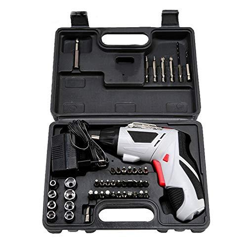 FLEZD Destornillador eléctrico portátil, Taladro de Mano Recargable doméstico de 4,8 V, Mango Ajustable y Juego de Destornilladores eléctricos con luz LED incorporada