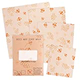 Reusable Beeswax Food Wrap 4 Pack - Perfect for Reusable Sandwich Bags and Covering Dishes - 100% Eco-Friendly - Includes 1 Small, 2 Medium, 1 Large Size Wraps Plus Bonus 2 Meter String