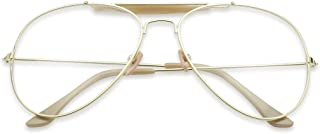 Oversize Round Double Bar Clear Lens Metal Aviator Plastic Cross Bar Glasses