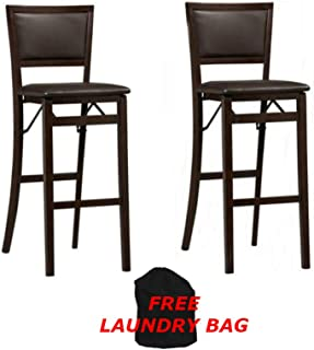 Linon Home Decor Keira Pad Back Folding Counter Stool (Set of 2), 30-Inch in Espresso Finish + Include Free Laundry Bag