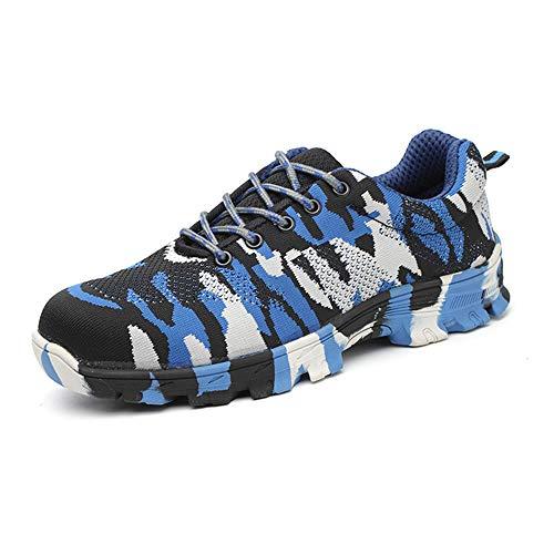 Men's shoes veiligheidsschoenen voor mannen en vrouwen, preventie tegen pannen 36-47 stalen kop stalen bodem ademende gereedschapsschoenen vrijetijdsschoenen Camouflage Blue Fyxd