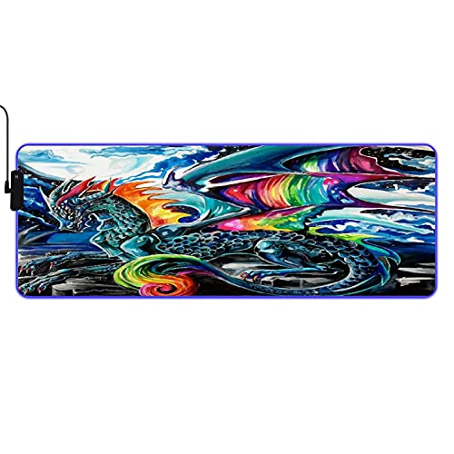 MISCERY Glowing Mouse Pad,Colorful Wings of Ice Dragon Mythical Animal Dragon,Rectangular Gaming Mouse Pads, for Laptop Computer PC Games Office Home, Anti-Slip Rubber Base Computer Mouse Mat