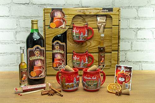 Feuerzangentasse Geschenkset, Schatzkiste, Rot/Historischer Markt - für Feuerzangenbowle