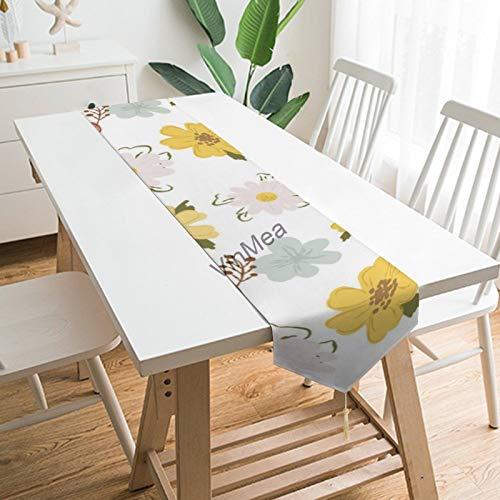 YY-one Camino de mesa estilo casa de campo con patrón floral con...