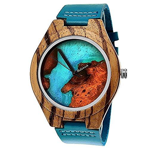 Handgefertigte Holzwerk Germany® Designer Damen-Uhr Herren-Uhr Epoxid Harz Öko Natur Holz-Uhr Leder Armband-Uhr Analog Quarz-Uhr Epoxidharz Zifferblatt in Blau Türkis