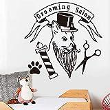 Mode Pet Grooming Salon Wandaufkleber für Tierhandlung Hund mit Hut Pfote Schere abnehmbare Wandtattoo Wohnkultur Zubehör 59X58Cm