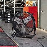 XtremepowerUS Pro-Series 24' inch High Velocity Floor Fan Drum Shop Fan Adjustable Tilt 2-Speed Air Flow Built-in Wheel, Black