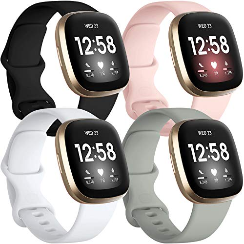 Getino Bands Compatible for Fitbit Sense/Fitbit Versa 3, Flexible Waterproof and Durable Silicone Sport Strap, Adjustable Replacement Wristbands for Women Men, Large Black/Gray/Pink/White 4 Pack