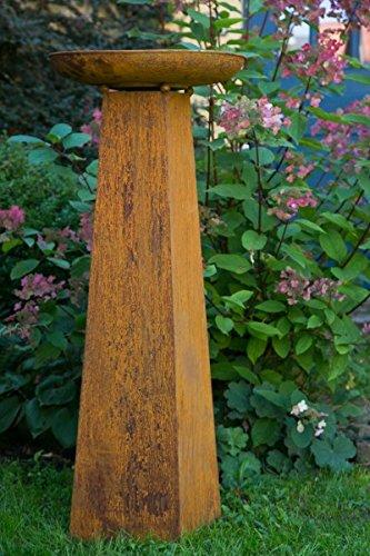 KUHEIGA Pflanzschale/Pflanzsäule mit Säule Roheisen/Rost H: 124cm - Schalenständer