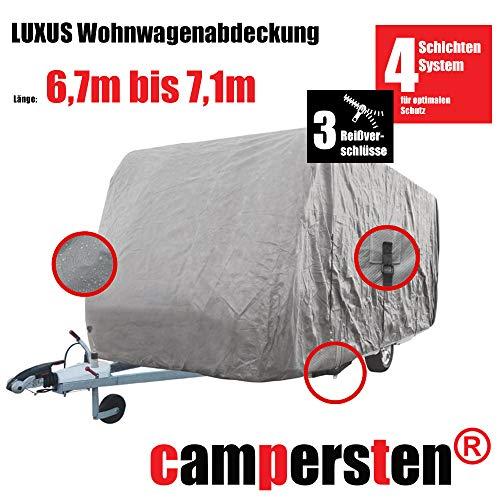 campersten Wohnwagen-Abdeckung | Schutzhülle | Wohnwagen-Abdeckplane | 4-Schichten-Gewebe (XXL: 6,7m bis 7,1m)
