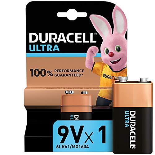 Duracell Ultra 9V, Pila Alcalina (paquete de 1) 1,5 Voltios 6LR61 MX1604